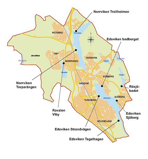 sollentuna karta Karta över badplatser i Sollentuna sollentuna karta